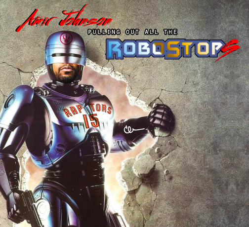 @IamAmirJohnson is back and he's pulling out all the stops #RTZ #Raptors http://t.co/60YWuzwsgX