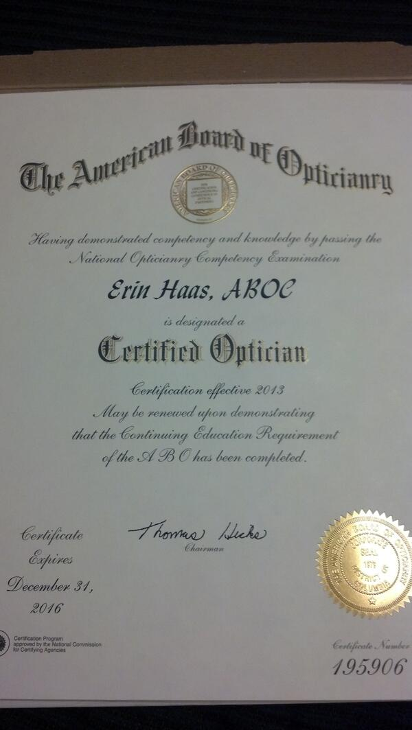 Erin Haas On Twitter Got My American Board Of Opticianry