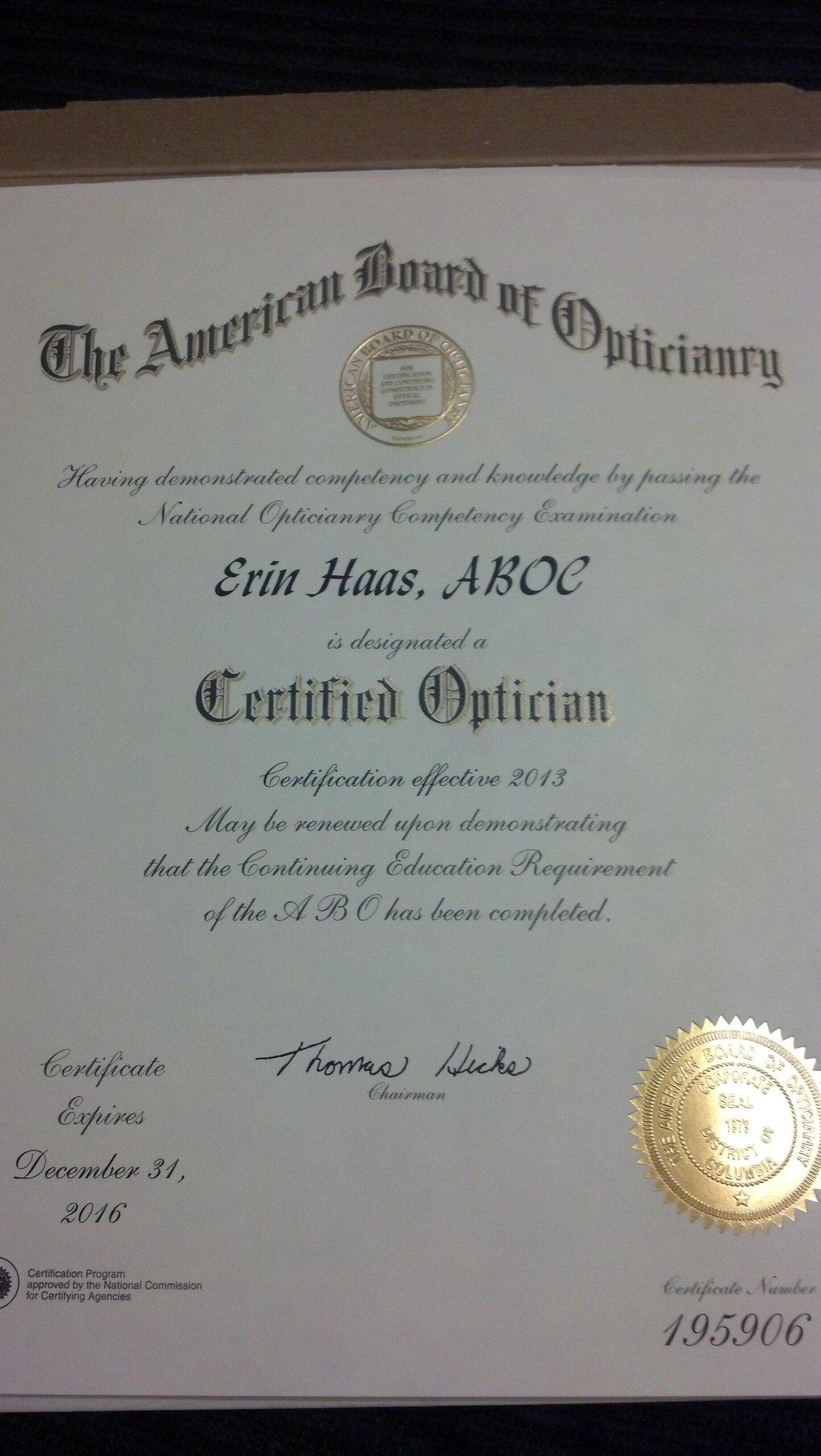 Erin Haas On Twitter Got My American Board Of Opticianry