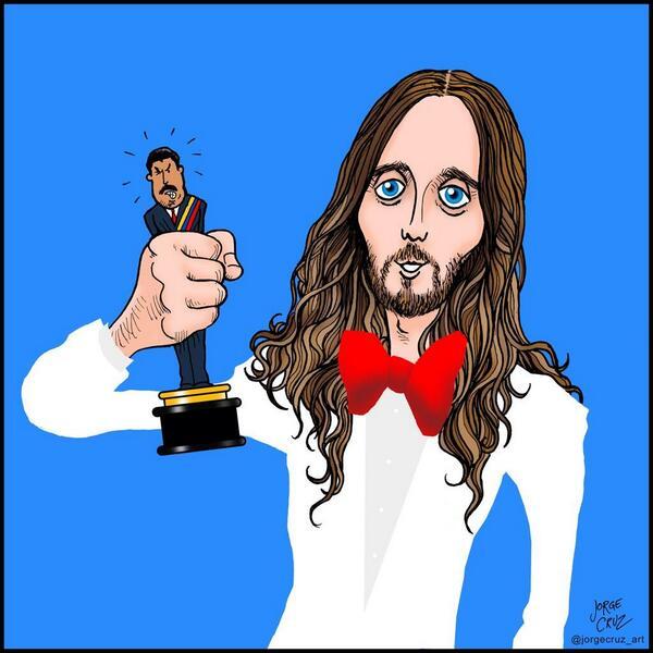 El ilustrador .@jorgecruz_art comparte un dibujo en relación al mensaje de @JaredLeto y #Venezuela #Oscars http://t.co/LtA6Orobrb