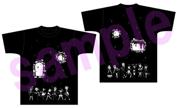 AnimeJapan2014のアニプレックスブースで販売する「[新編]叛逆の物語」グッズその①。イヌカレーさんの描いた「偽街の子供達」が表裏にデザインされたTシャツです!黒ボディのM・Lの2サイズ展開!  #madoka_magica