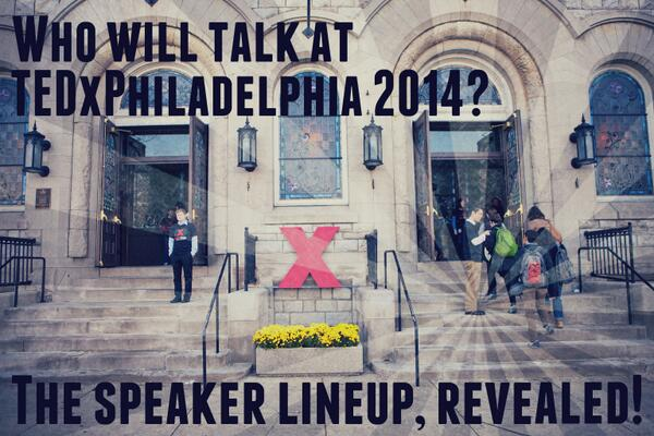 Question: Who is speaking at TEDxPhiladelphia? Answer: http://t.co/JGyxCaedHA #TEDxPHL14 http://t.co/RKMqTftB3h