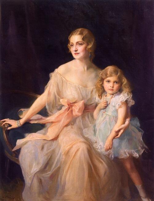 「ミセス・クロード・リーとミス・ヴァージニア・リー」1933年フィリップ・ド・ラースローPhilip Alexius de László, Mrs. Claude Leigh and Miss Virginia Leigh
