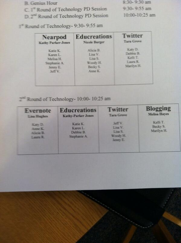 @AveryGators1 Teachers broke out into differenteated technology sessions of choice. Great PD!#hcsdchat http://t.co/8bMwxg7ro9