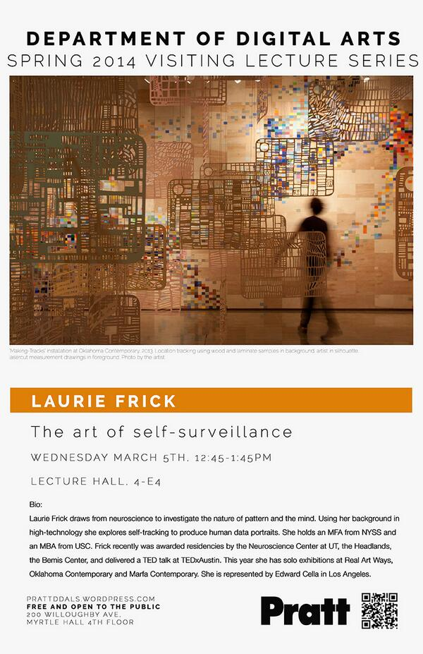 TODAY at 12:30PM in the DDA Lecture Room: A talk by artist @lauriejoyfrick on The Art of Self Surveillance. #ljfrick http://t.co/ycGTYCG1fu