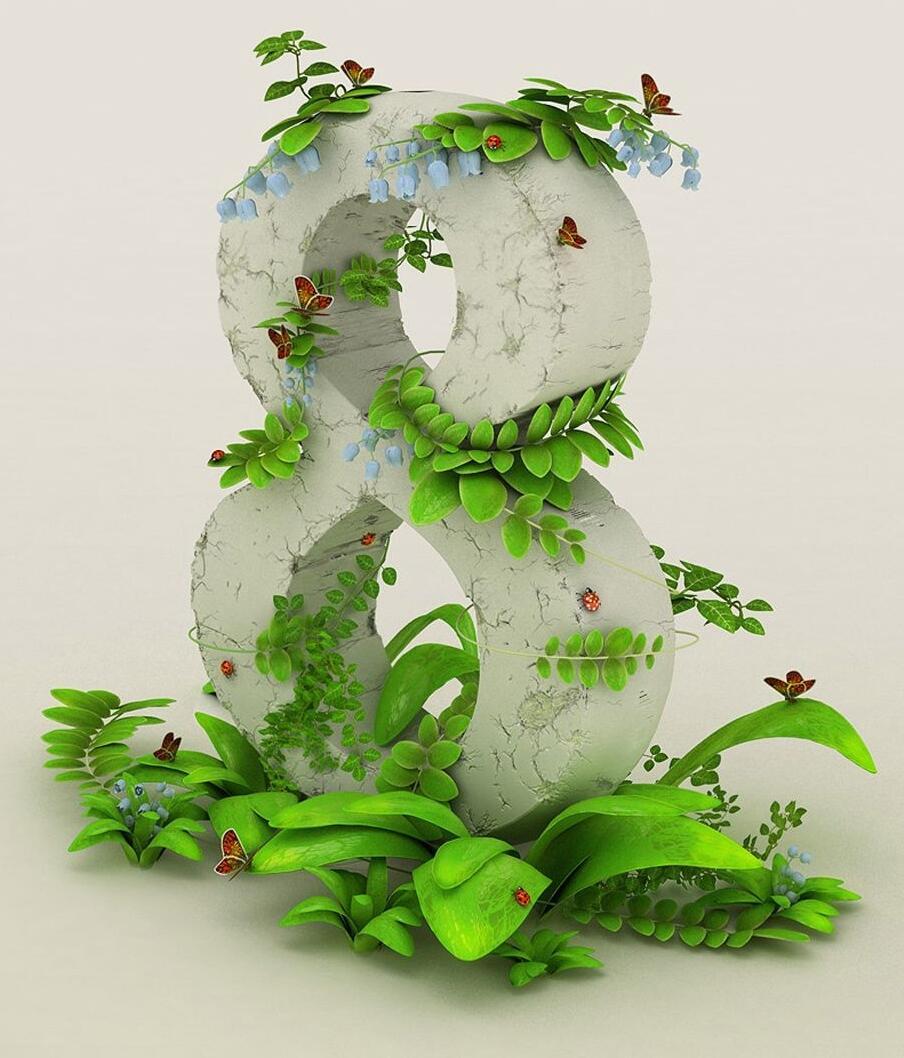 Открытка цифра на 8 марта, надписями весне любви