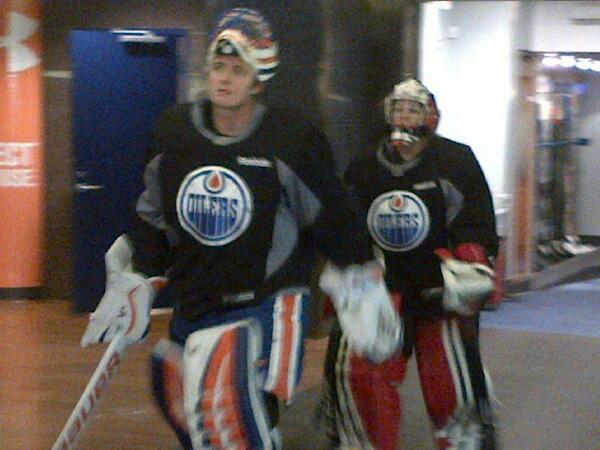 Ben Scrivens and his backup for today Shannon Szabados hit the ice. http://t.co/MIJ41MeqlD