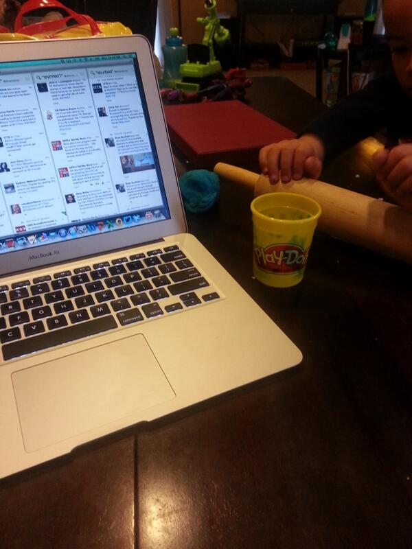"Doing a con call + live tweeting for #NPRWIT while my son ""works"" (with Play-Doh) next to me...""work life balance"" http://t.co/e3zJOhJXS3"