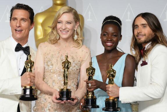 Oscar winners, Matthew McConaughey, Cate Blanchett, Jared Leto & Lupita Nyong'o #Oscars2014 #Winners http://t.co/dZVRAelBEY