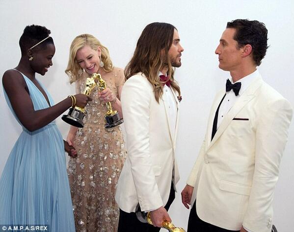 """""""@MFRemillard: Beautiful photo of #Oscars winners Lupita Nyong'o, Cate Blanchett, Matthew McConaughey and Jared Leto http://t.co/xwrHSt7OHX"""""""
