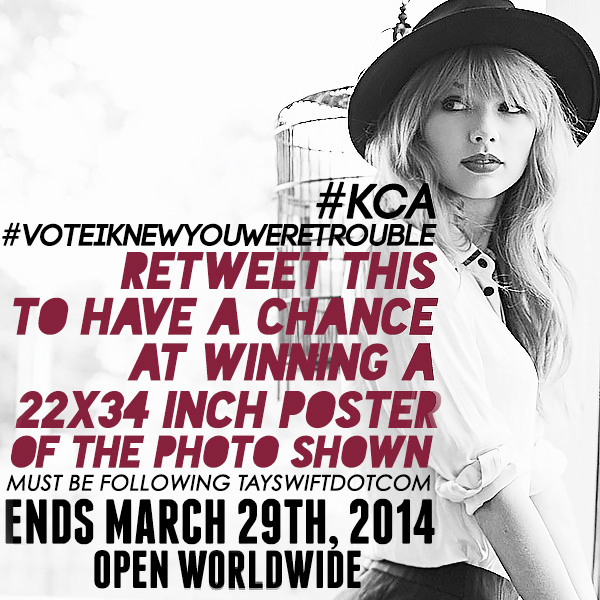 RETWEET to #VoteIKnewYouWereTrouble #KCA & for a chance to win a Taylor black & white porch poster! Open worldwide! http://t.co/Rgw1SN05Pz