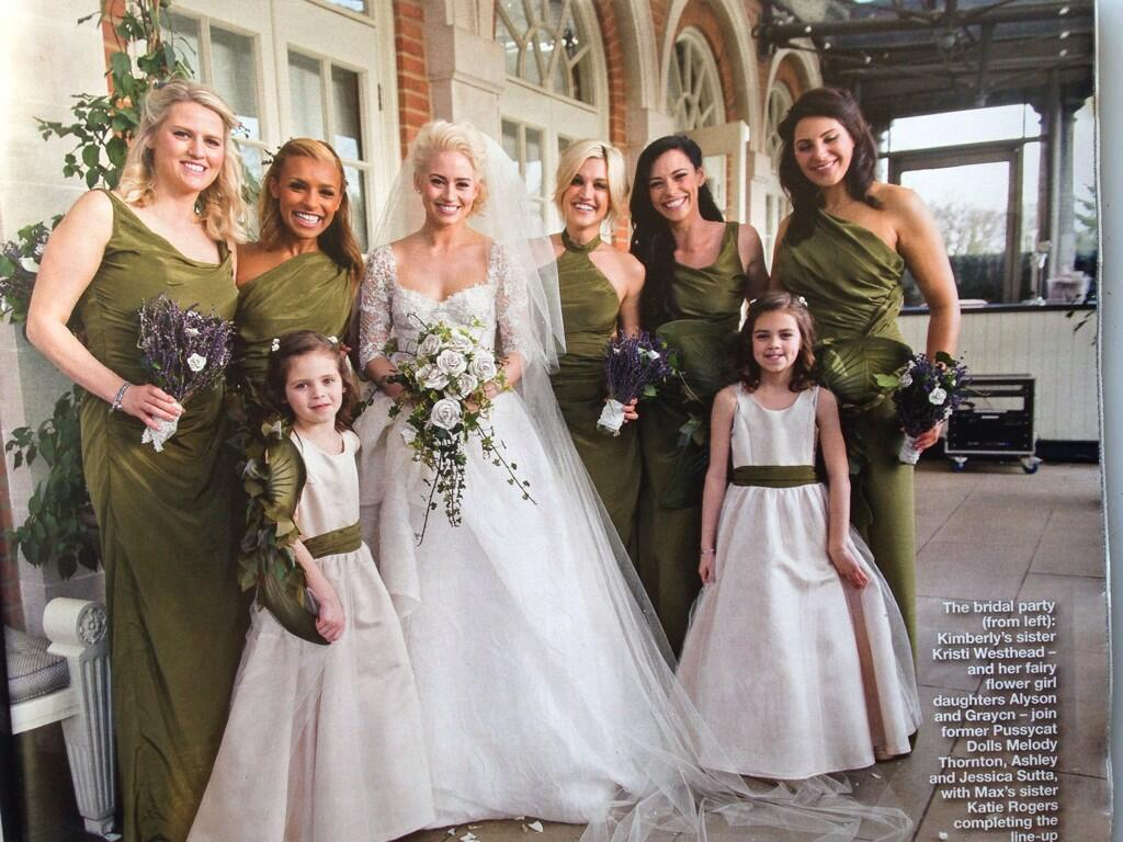 RT @CostumesByWendy: The official @hellomag pic of @KimberlyKWyatt with her bridesmaids, who we made the ivy green ruched dresses for! http…