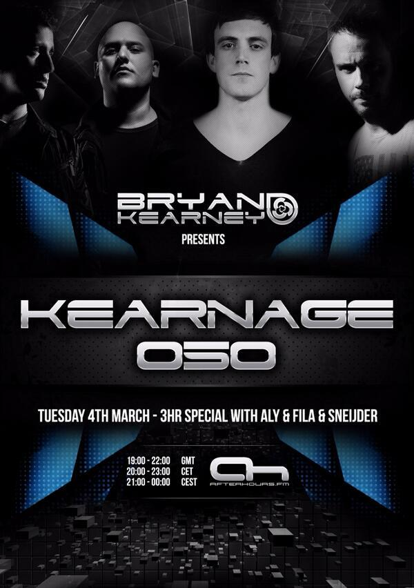 Tonight @BryanKearney #‎KEARNAGE  050 3Hr Special with guests @alyandfila  & @SneijderMusic   http://t.co/YKq9B0SRMc http://t.co/Yu2Wr9losL