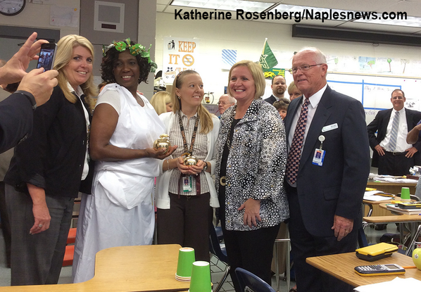 Two Lely golden apple winners, Jacqueline Williams, second from left, and Suzanne Szczepanski, celebrate together. http://t.co/u1lHrleYjH