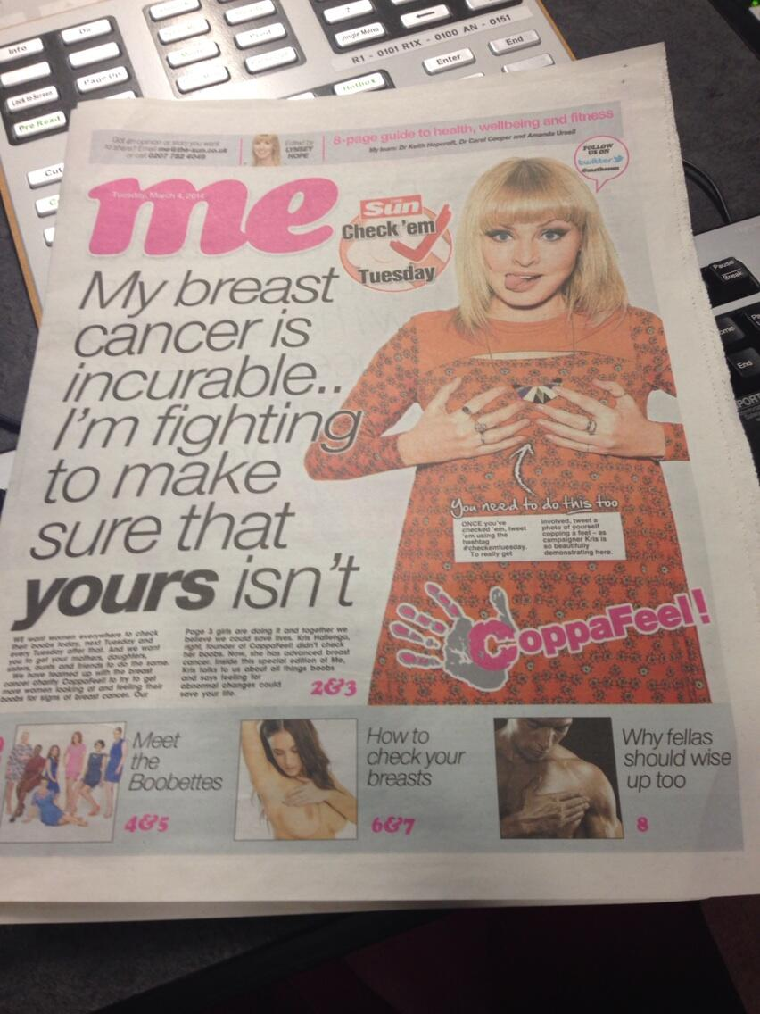 My darlin mate @krisPoB takes over the sun to spread the @coppafeelpeople word!!! GO GIRL!! ❤️ http://t.co/BNMWfiDrGT
