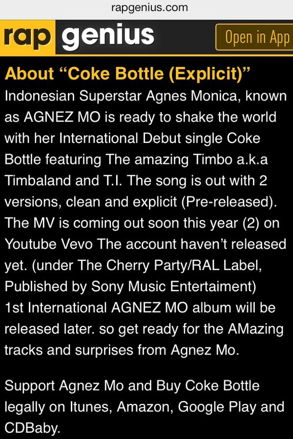 """@albie_17: Information Coke Bottle @AgnezMo at http://t.co/RfOWzR3fdn"