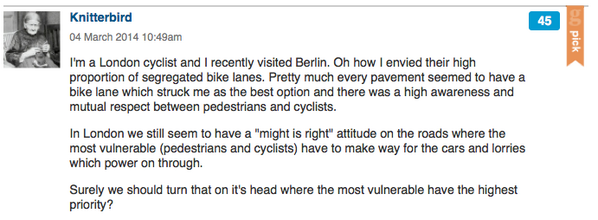Interesting comments on #citycycling - here, Knitterbird compares cycling in London and Berlin http://t.co/2lfzNBGvDk http://t.co/6YCYjws6tf