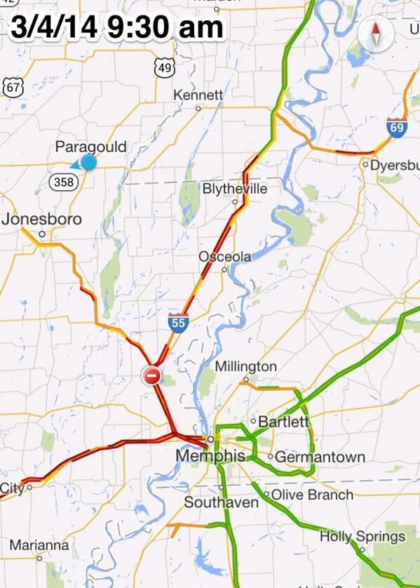 You can clearly see that something is wrong. Traffic immediately speeds up when you leave AR  #arwx #mowx #tnwx http://t.co/9odvdItrbC