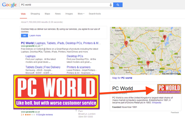 Ouch! PR nightmare. RT @BuzzFeedUK If you Google PC World right now you'll see this http://t.co/bdDvfbLRlH