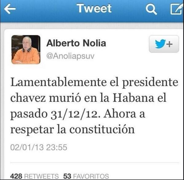 """Maldición del CaptureIt """"@lucho3008:  PROHIBIDO OLVIDAR TWITT QUE ELIMINO ALBERTO NOLIA/CHAVEZ NO MURIO EL 05/03/2013 http://t.co/7wcETA0KPL"""