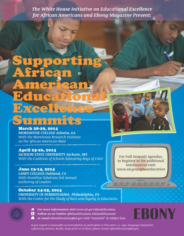 Follow our 1st Summit on Educational Excellence in Atlanta, GA Mar 28th & 29th using the #AfAmEdSummit hashtag http://t.co/ZEPVMAvYGW
