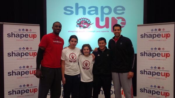Students Chris & Myles welcome @pdpatt @landryfields & strength coach Jon Lee as part of our #MLSEShapeUp visit. http://t.co/50bYLT3TCM