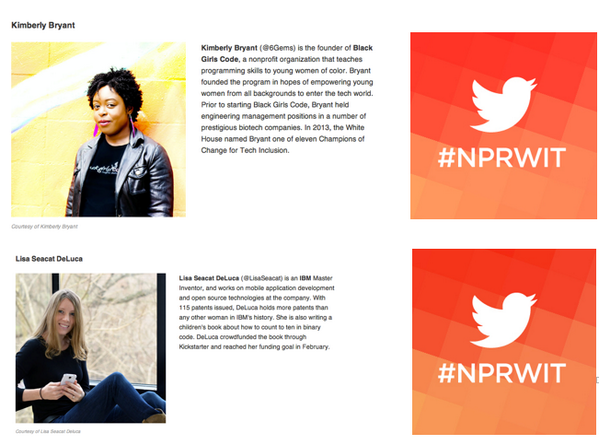 Joining us for Day 3 of #NPRWIT are Kimberly Bryant @6Gems of @BlackGirlsCode & Lisa @LisaSeacat DeLuca of @IBM WED! http://t.co/UyWqcNehQg
