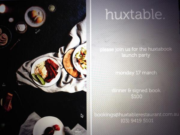 #Huxtabook launch party - come and celebrate with us. Dinner + book, $100 http://t.co/Qnvaa2Cdp5