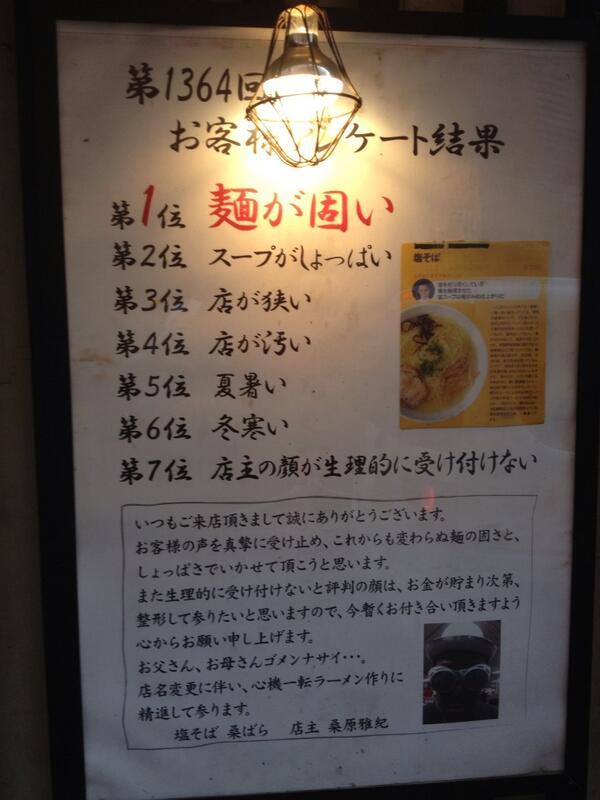 俺の好きな池袋のラーメン屋のアンケート pic.twitter.com/v201PQRx7w