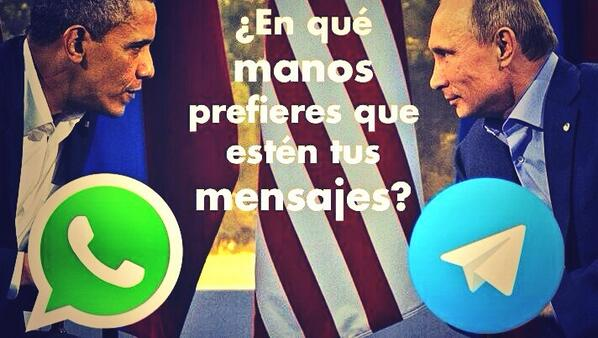 Y si la guerra ya empezó? Whatsapp (USA) Vs. Telegram (Rusia) :-) http://t.co/jQZT53G4gk