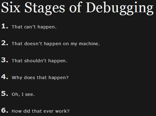 LOL :] RT @silviuardelean: The Debugging Six Stages #debugging #programming #epic http://t.co/eJhO1uC0AV (via @micpringle)