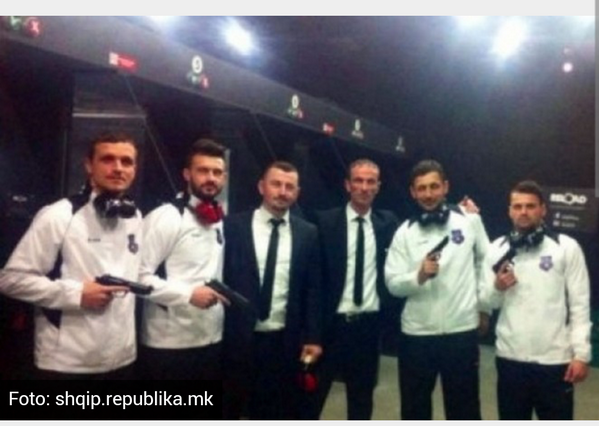 Kosovo players pose with guns before their first ever FIFA game with Haiti [Picture]