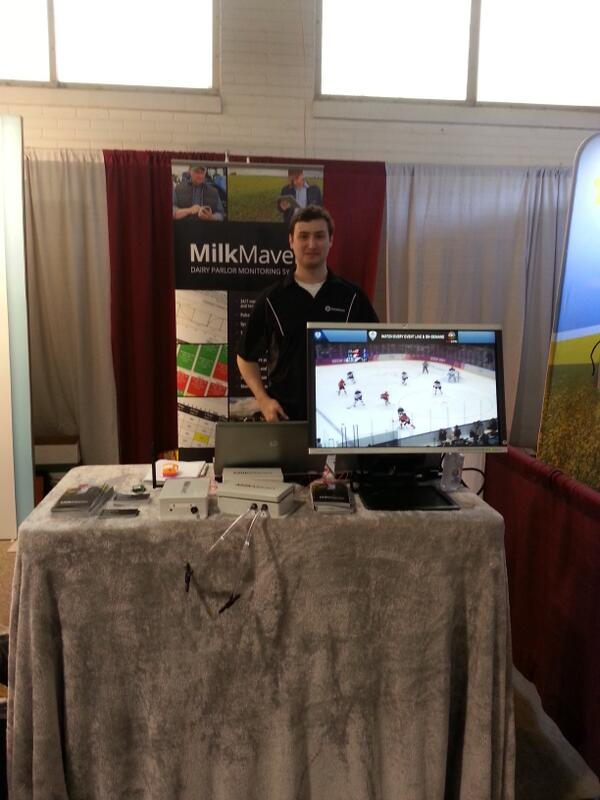 Don't miss the game!  We have it going at our booth! #NYFarmShow #MilkMaven #GoCanadaGo  #WeAreWinter http://t.co/l0uRrsCmhf