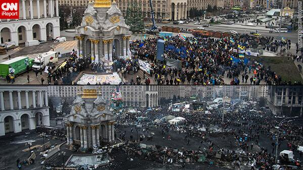 Before & after: Kiev, #Ukraine, at start of protests and 3 months later. By @chriscollison. http://t.co/YvnKgcBukL http://t.co/1wNl0WWQKG