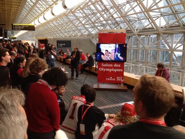 LPC delegates watching the hockey game #lib14 http://t.co/7qqQJ9ABOD