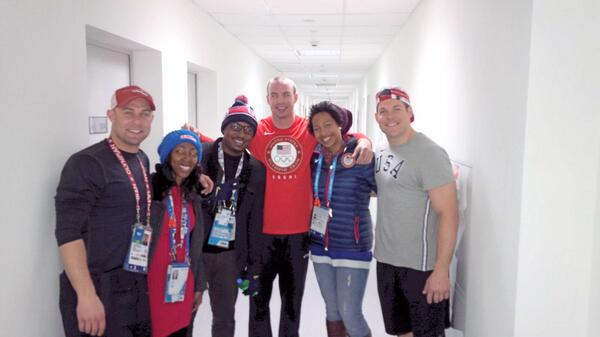 With all of our Olympic Bobsled clients at the Athlete Village! @BOBSLEDR @DRobUSA @JazmineFenlator @JohnnyQuinnUSA http://t.co/nhOqePahNd