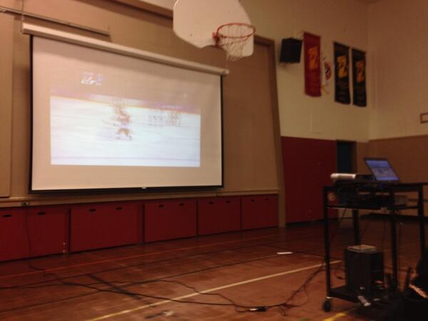Lunch break at school = watching hockey in the gym!! #GoCanadaGo #Sochi2014 http://t.co/8KDV7QCGOS