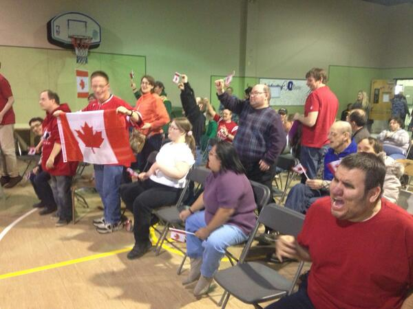 The crowd goes wild at Cosmo Industries in #yxe after Canada's goal #gocanada http://t.co/goXGnpOWtB