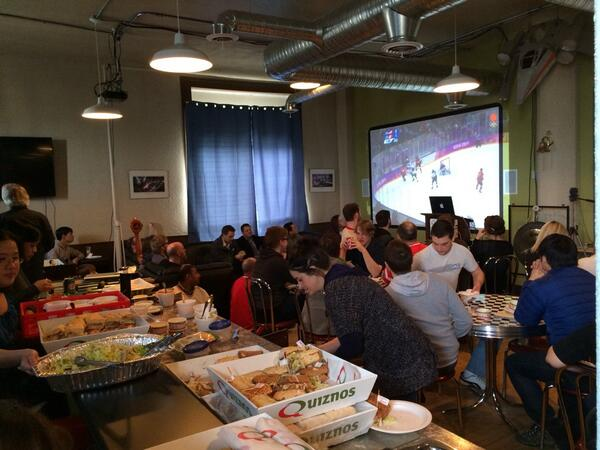 The @Vendasta team cheering on Team Canada... Go Canada Go!!! #Sochi2014 #TeamCanada http://t.co/yC9ng5AvOo