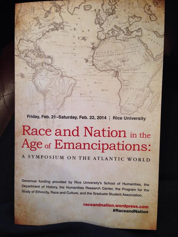 I underway in Houston @RiceUniversity Hearing Beverly Tomek on Delany, Campbell & black nationalism. #RaceAndNation http://t.co/IbYcB3BxoG