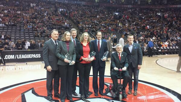 Andrea Blackwell, Candace Clarkson and David Coulthard (representing his father Bill) receiving their HOF awards. http://t.co/3K6LBCgSmx