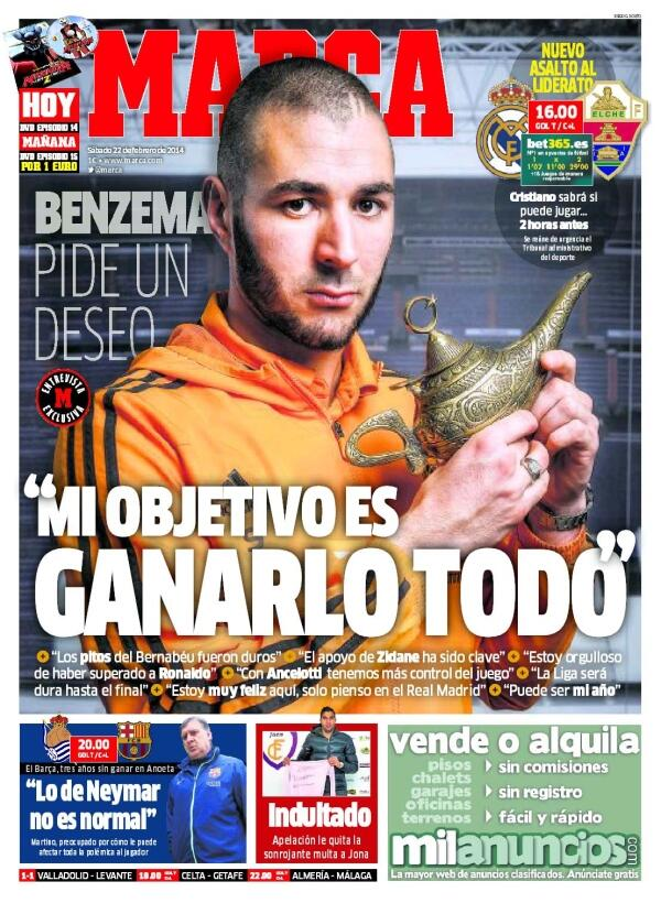 BhE7yl3IMAAgTfP WTF? MARCAs odd front picture today has Real Madrids Karim Benzema posing with a genies lamp