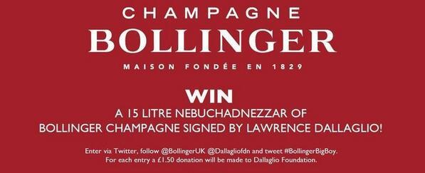 WIN the #BollingerBigBoy signed by @dallaglio8. RT & follow @BollingerUK @dallagliofdn, each tweet = a £1.50 donation http://t.co/dYx9DmrKUB