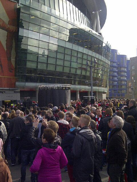 Throngs of Arsenal fans have gathered outside the Emirates for Dennis Bergkamps statue unveiling