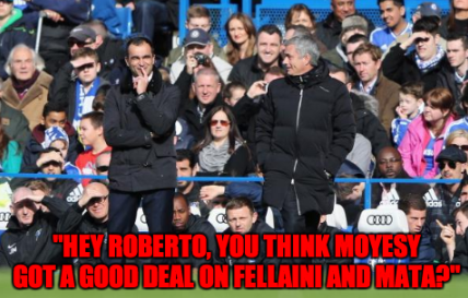 Roberto Martinez & Jose Mourinho have some Moyes bantz on the Goodison touchline