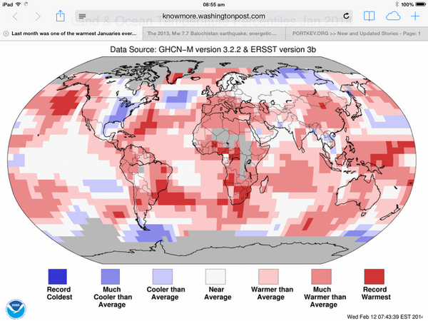 Eastern US pretty much the only place on Earth that wasn't warmer than average this January: http://t.co/Ori3QbQX3n http://t.co/nKdF8ozIEQ