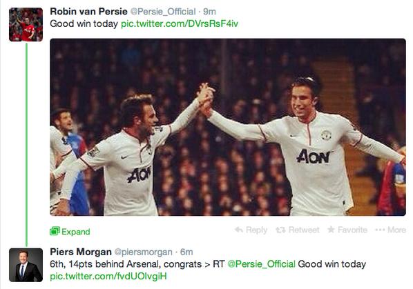 BhGy13SCMAAc9JK Arsenal fan Piers Morgan Trolls Robin van Persie after Man United win at Crystal Palace