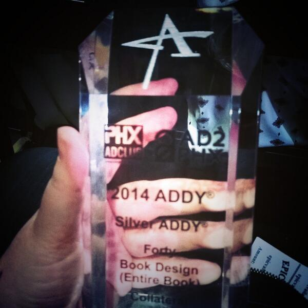 We're super excited to win an Addy tonight! Congratulations to the Forty team.  #phxaddys http://t.co/UrW7h15FJF