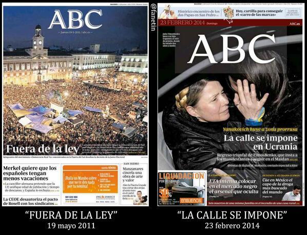 Portadas del ABC del 19 de mayo de 2011 y del 23 de febrero de 2014. http://t.co/vtnm7Aqp9c