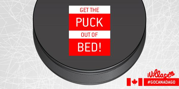 """""""Psst..sorry. Did we wake you? It's just. Well. OLYMPIC HOCKEY! #GoCanadaGo! #PuckinEarly http://t.co/et9ED8TzgW"""